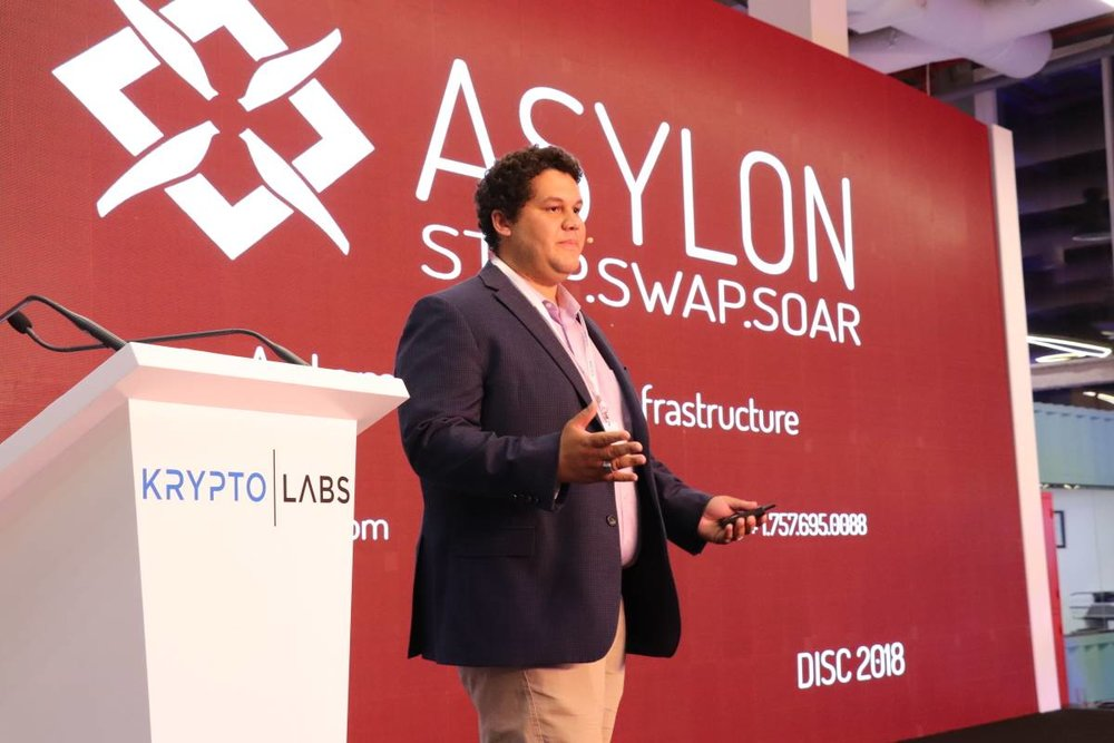 Damon pitching live from the stage at Krypto Labs in Abu Dhabi, UAE