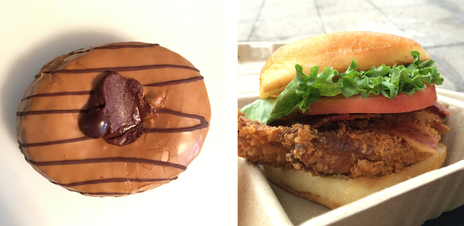 Chocolate espresso doughnut, BLT chicken sandwich