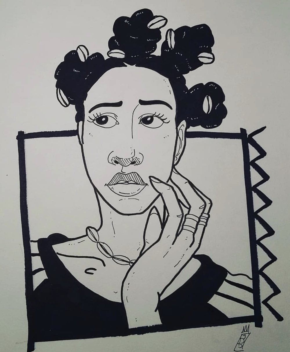 Jamila Woods - Jakeem Da Dream - This piece was inspired by my love and admiration for black women. Those melanin filled, sunkissed, mothers of creation. I feel Jamila Woods is a shining example of black girl magic, with her empowering music. Promoting self love in a world constantly telling black women they are not good enough, she is role model and a true blessing to us all.IG: @jakeemdadream
