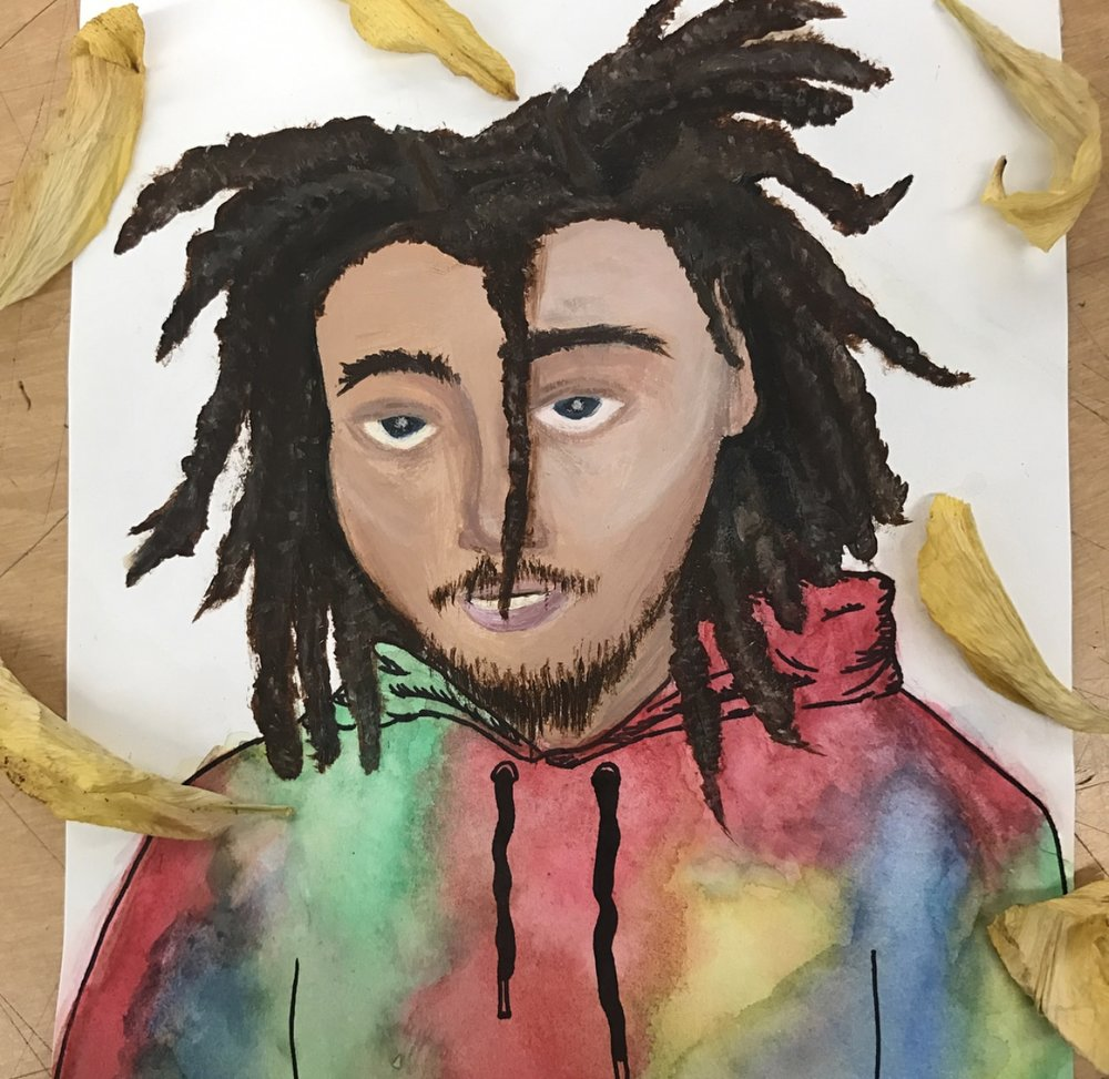 Kweku Collins - Grace - The first time I heard Kweku Collins was at a party. Lonely lullabies caught my attention immediately and I started listening to him. The cool thing about it is that Kweku has a different sound than other artists today. It's a sound that makes me feel good and made me feel overall happy. That mood had been with me the day started painting the picture. And I just did whatever I wanted from there. I was very drawn in by his tie dye sweatshirt in that picture which I went off of. Kweku is definitely an inspiration to me in general.IG: @grace_musto.art