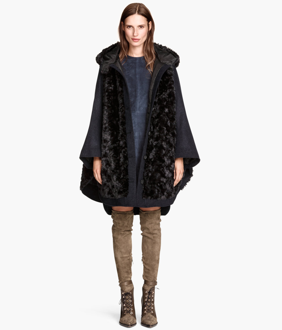 Wide-cut Faux Fur Coat