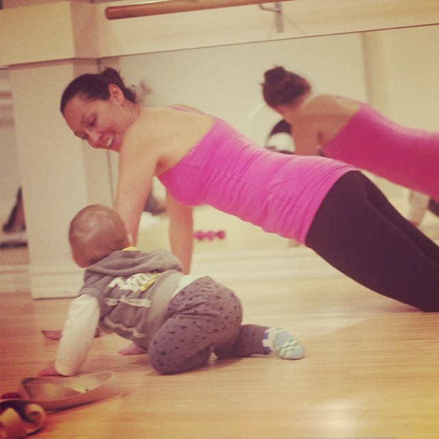 My partner in crime showing baby Maxi some barre moves