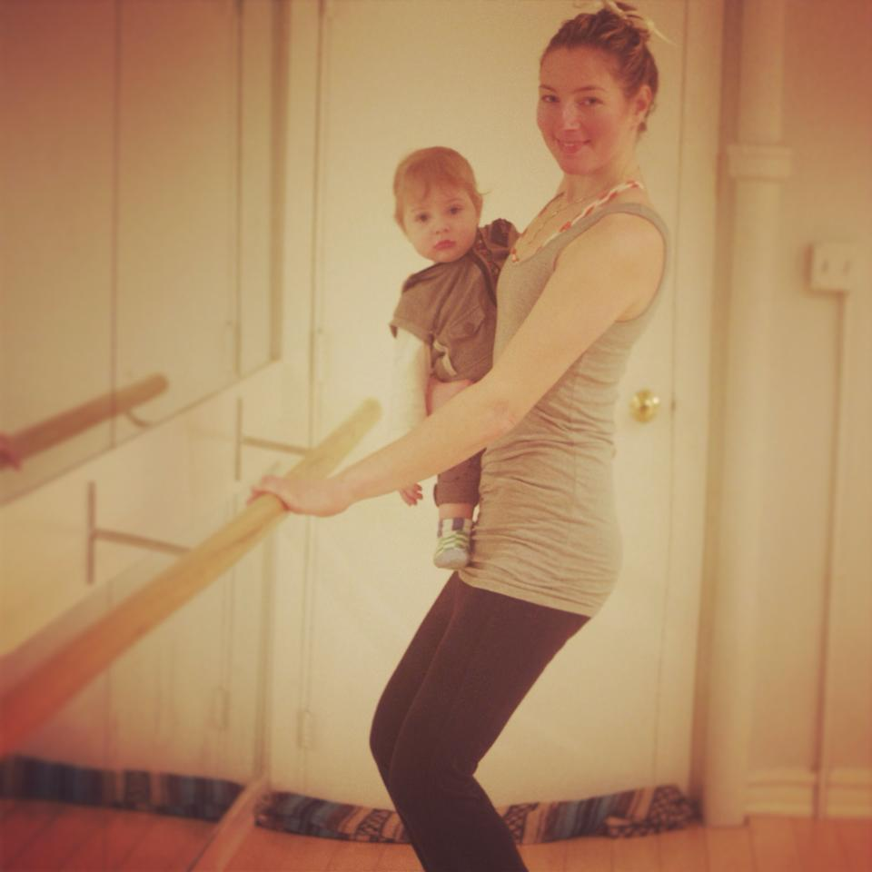 January 2014- Work in progress at Jessica's barre class with baby in tow