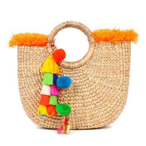 JADEtribe Tassel Pom Pom Beach Basket