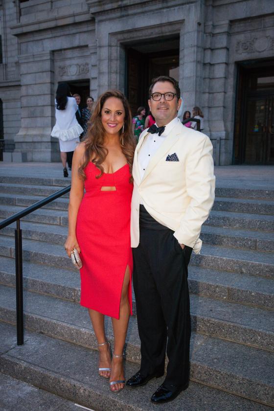 David Di Simon and Gina Morda~ On Gina, Nicolas Ghesquiere dress. Stuart Weitzman heels.