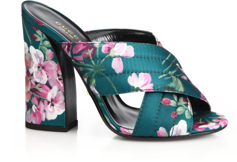 Gucci Webby Floral Mules