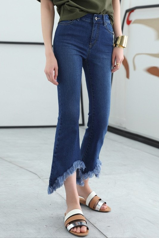 Genuine People Fringe Hem Jeans