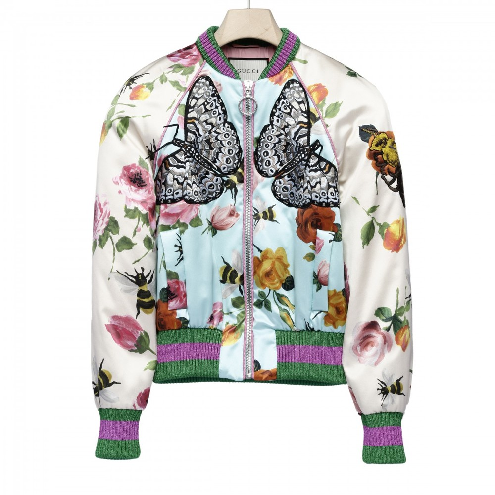 Gucci Rose Print Silk Bomber