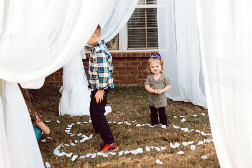Kids backyard Wedding Petals play