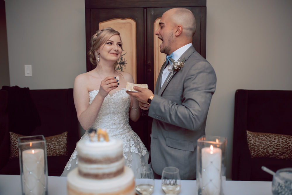 bride and groom feed the cake