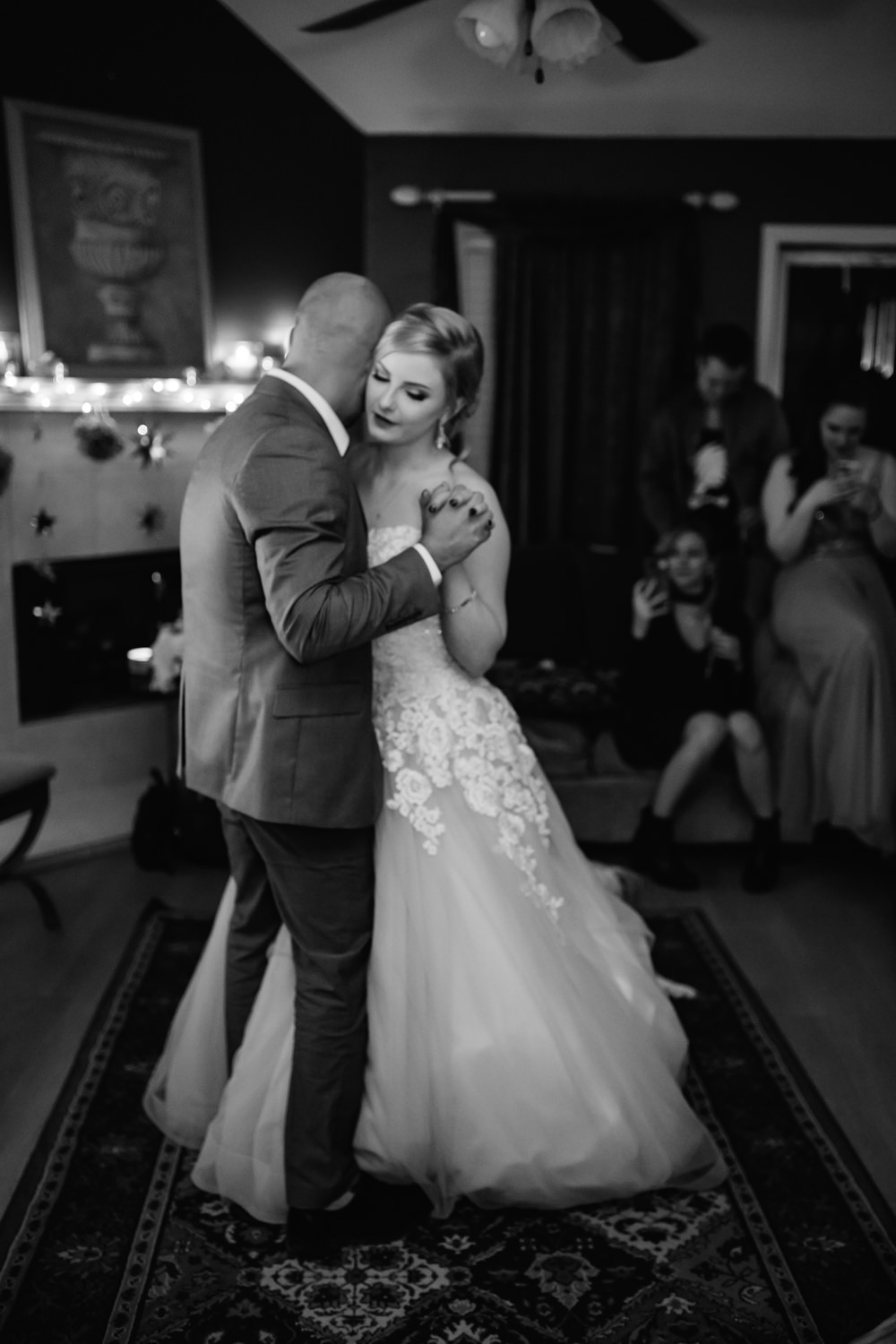bride and groom black and white first dance romantic