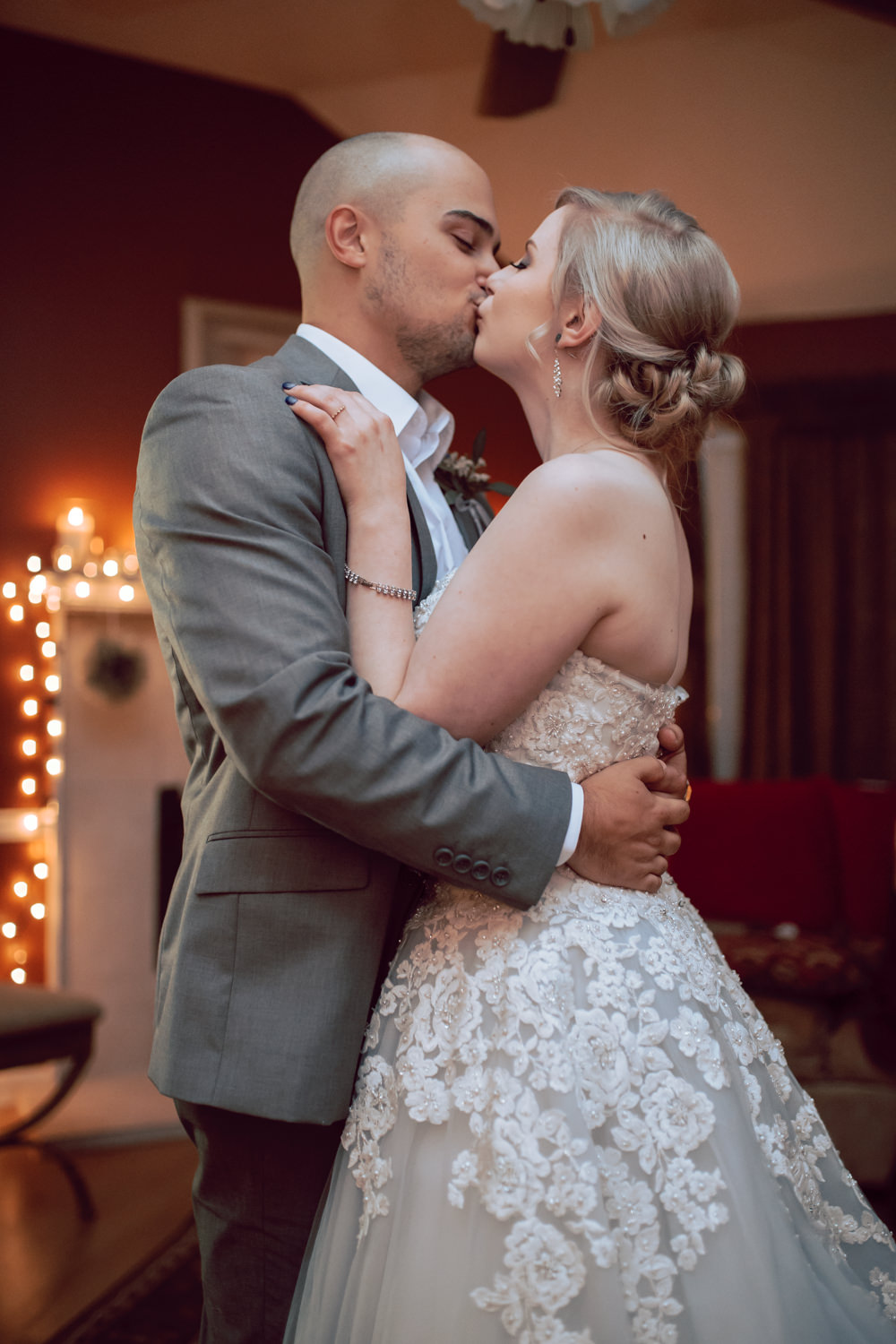 bride and groom first dance kiss