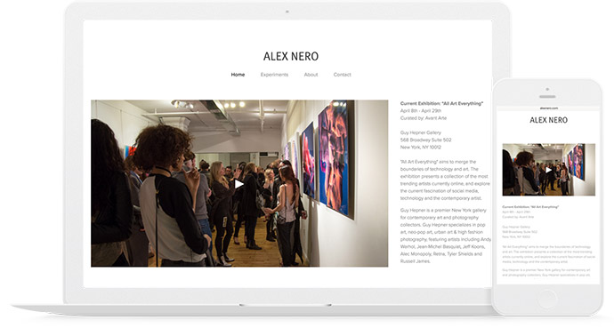 An example Squarespace portfolio from SeeMe Member Alex Nero www.alexnero.com