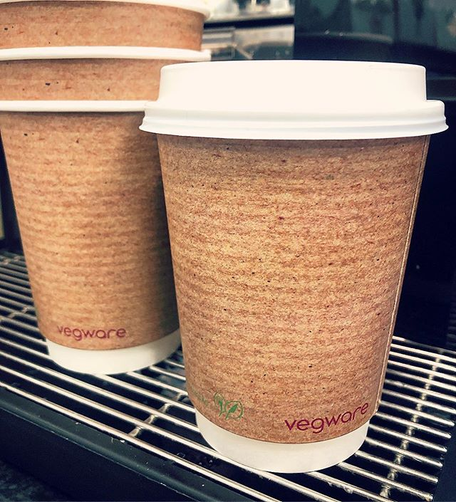 Who's spotted our new 100% compostable coffee cups and lids from @vegware ? We've been fading our old single use cups and lids for several months now and are so happy to have these in our stores now. These are made from plants, not plastic and carry a much smaller carbon footprint. In 2019 we hope to bring less packaging and more sustainability to our shops #ecofriendly #margiotta #edinburgh #recycle