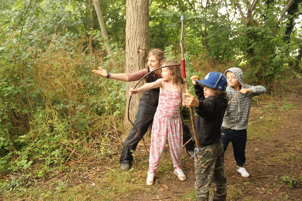 Running a Forest School session where we made our own bows and then had an archery competition in the woods
