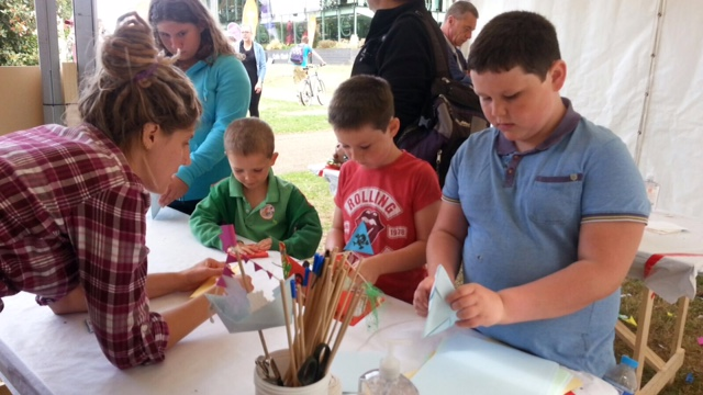 Paper Boat making workshop at a Summer Art Festival
