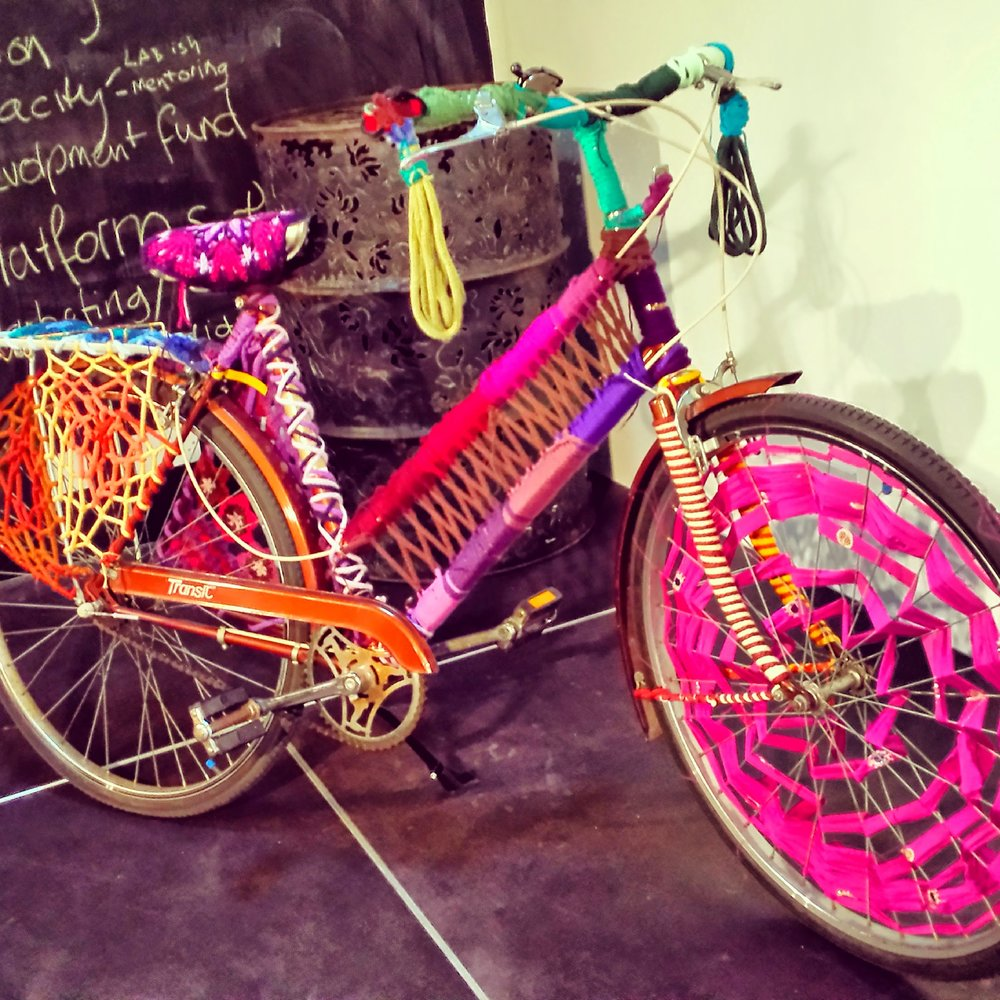 A Yarn Bombed Bicycle commissioned for a festival