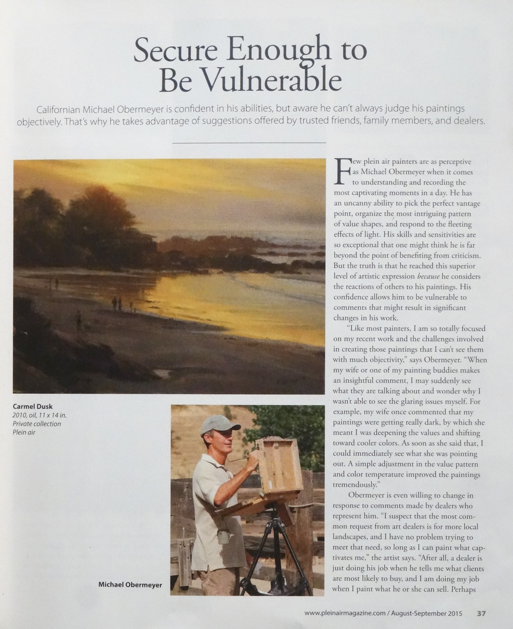 Plein Air Magazine    August/September 2015