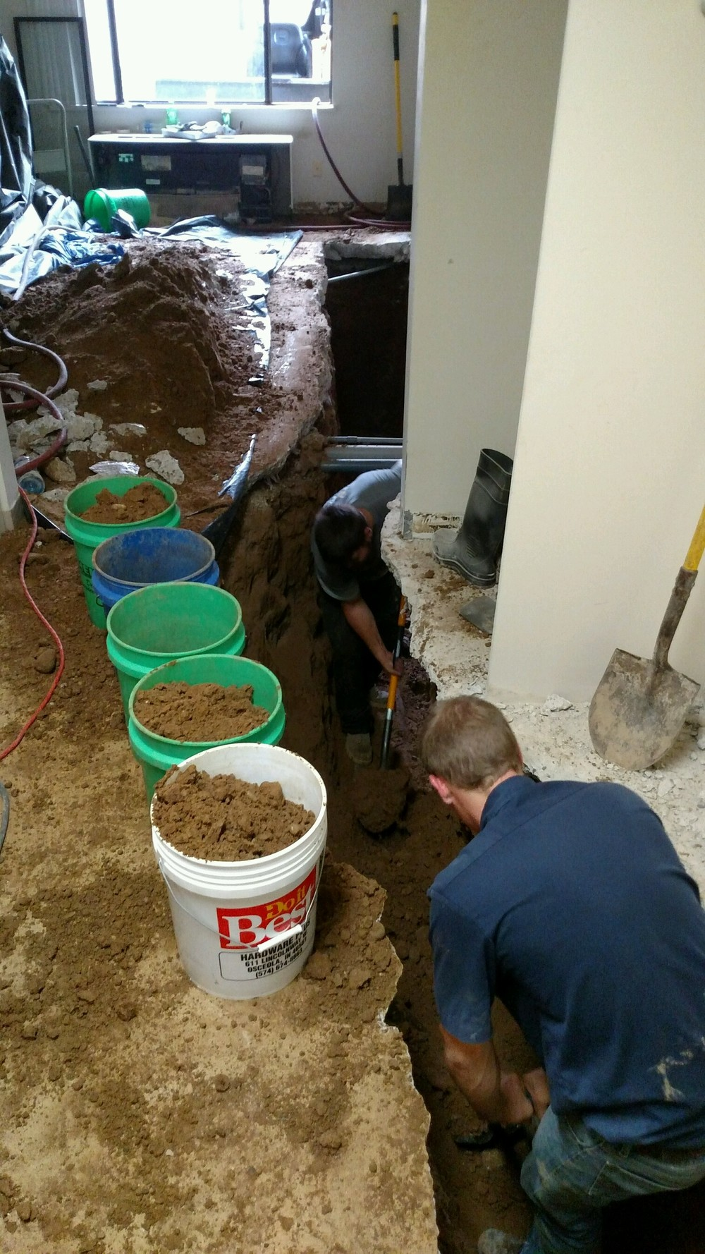 Sewer repair in floor