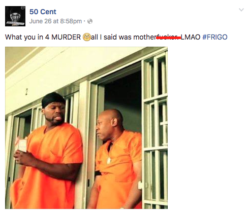 what 50 cent posted on his facebook page afterwards