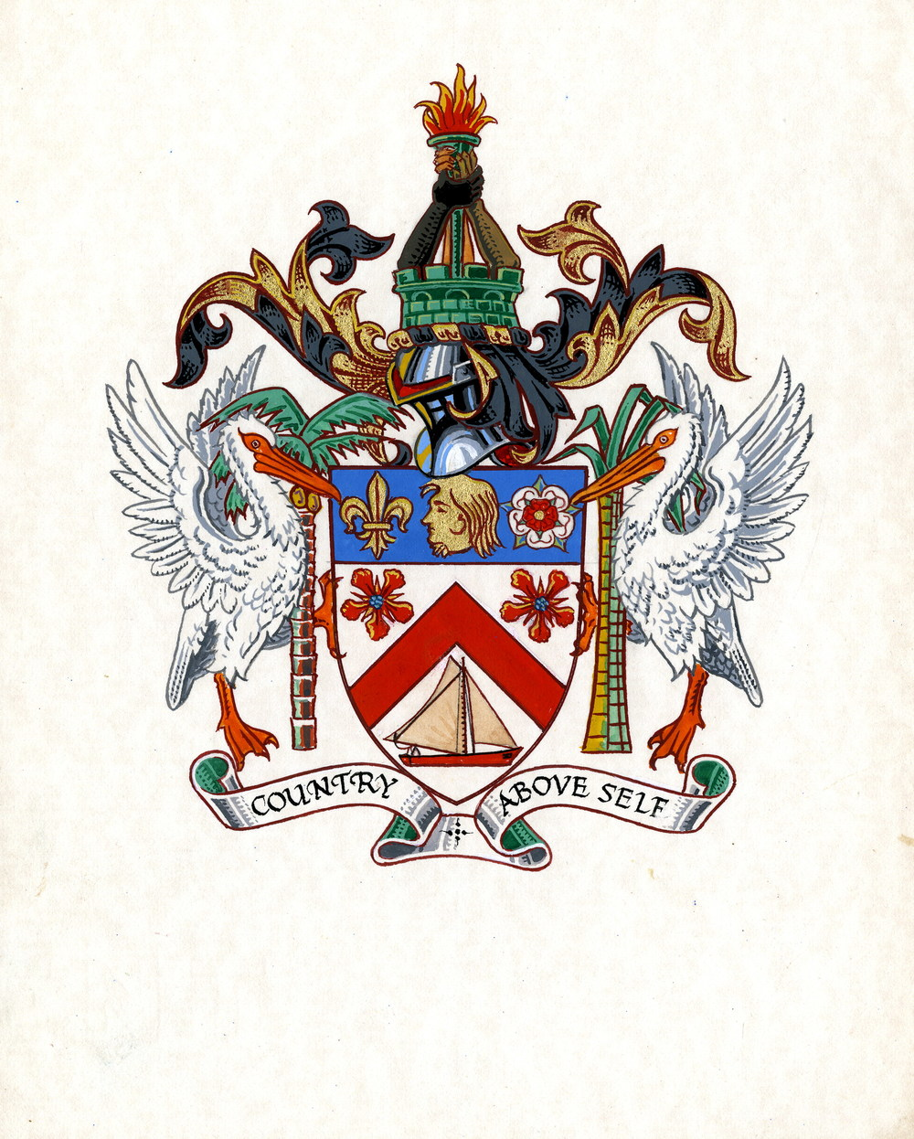 St. Kitts & Nevis coat of arms. :Photo provided by Mrs. O'Flaherty at the St. Kitts National Archives (Thank you to Kate Orchard for the forward).