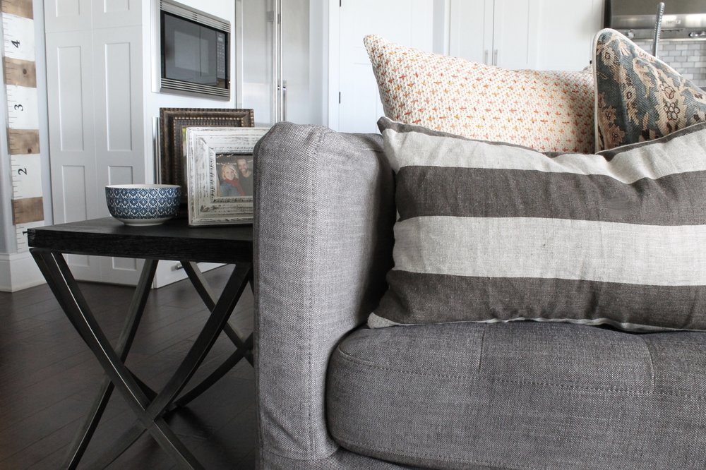 Pretty pillows from Pottery Barn, Magnolia Homes, and  The Ivory Gull