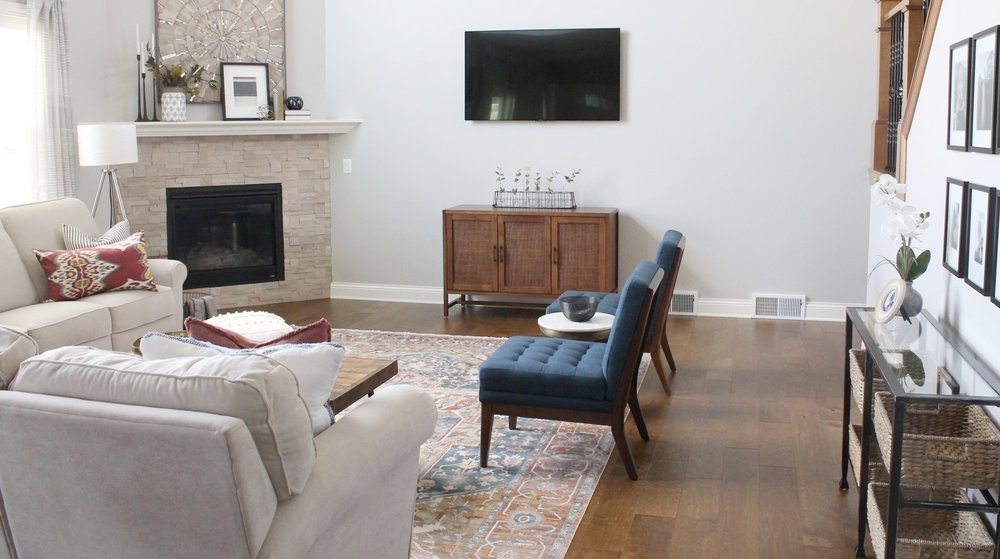 We Moved The Tv From Itu0027s Original Spot, Putting It To The Right Of The  Fireplace. This Allowed Us To Place The Furniture In A Better Arrangement  And Add ...