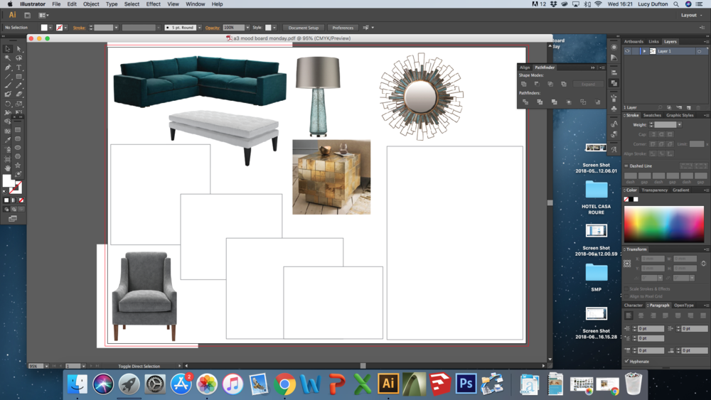 - Designing the layout of the mood board using Illustrator.  The blank boxes will be where the actual samples will be mounted.