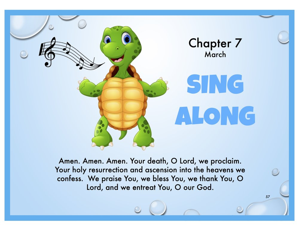 """SING ALONG - In Turtle Time, we're reading a chapter titled SING ALONG. We encourage kids to sing along during Liturgy and teach them which """"color"""" voice to use.We use our RED voices for emergencies.We use our ORANGE voices when we play outside.We use our YELLOW voices inside.We use our WHITE voices to whisper to our parents in Liturgy.But there is ONE very special time in Liturgy when we get to use our ORANGE voices! It's when we sing Amen, Amen, Amen.  >>Practice this hymn Amen, Amen, Amen and then join us as we praise God in Liturgy. >>REVIEW THE TURTLE TIME CHAPTER HERE and then practice using different color voices at home—RED, ORANGE, YELLOW and WHITE—and remind your kids that we ONLY use WHITE voices in Liturgy. It's also a good idea to remind them of what you expect of them as you're walking into Liturgy."""