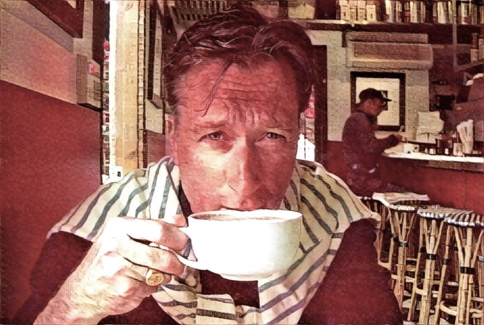the poet & poetorialist, colin goedecke, over a morning cappuccino, santa monica, california