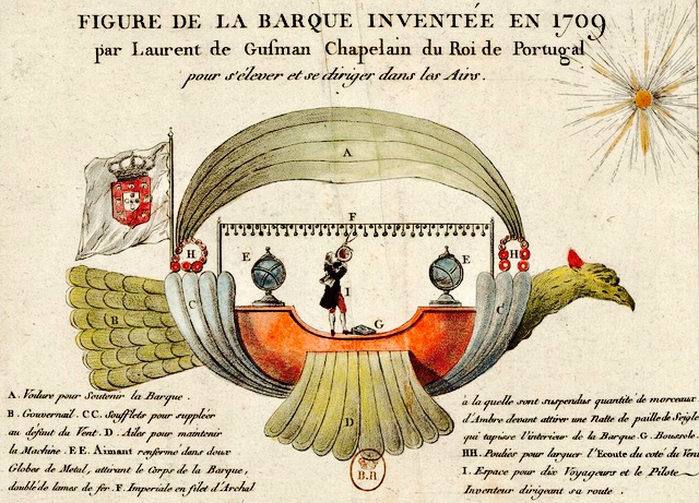 gusmao's flight of fancy, his imagined airship, the passarola