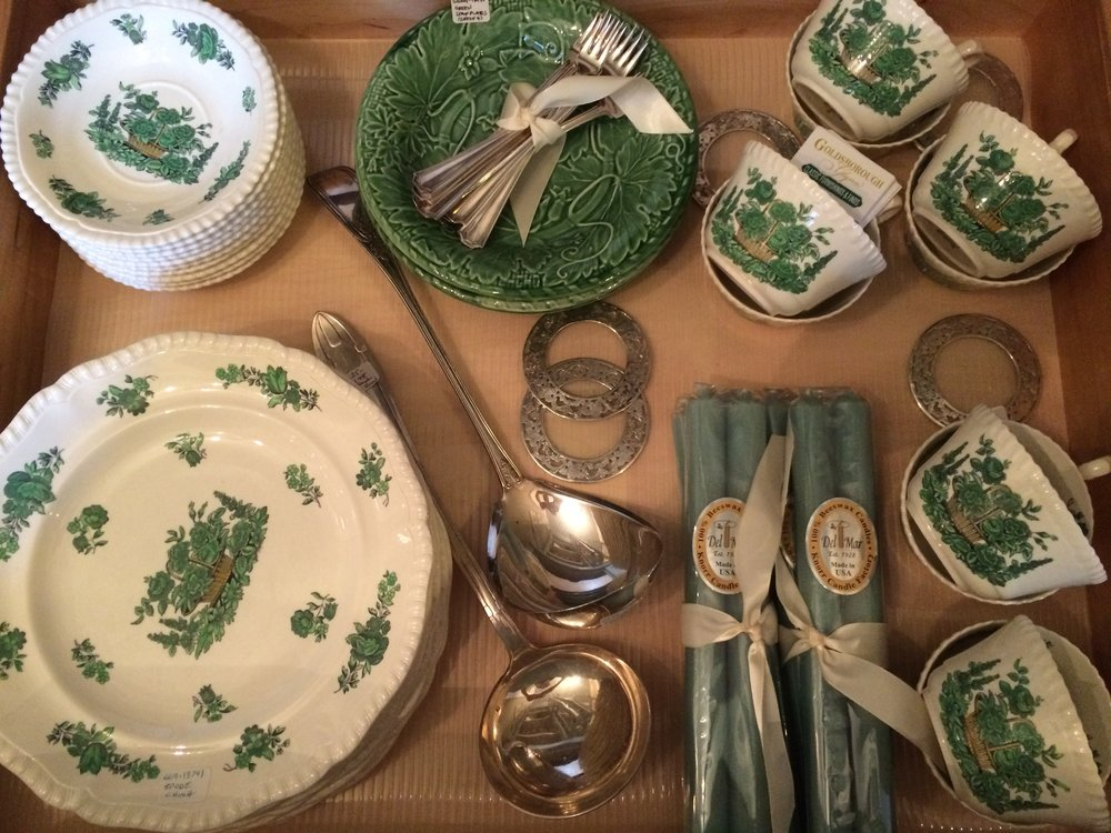 A drawer full of Spode china, various silver-plate items and Del-Mar 100% bees wax candles.