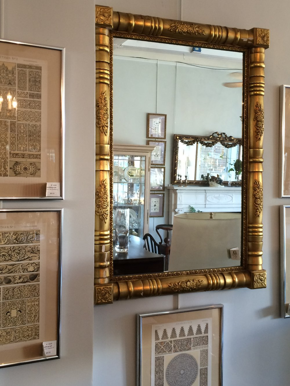 Gilt Empire mirror, 24.5 x 35""