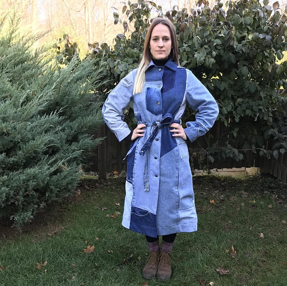 Of The Land Denim Trench, made from deconstructed jeans, handmade pattern, zero waste - $350