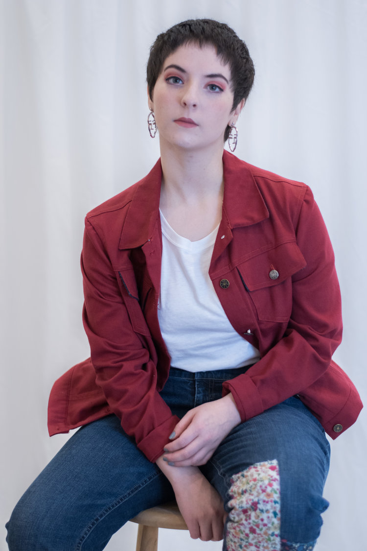 Of The Land Red Denim Jacket, made from remnant fabric, hand made pattern, zero waste - $85