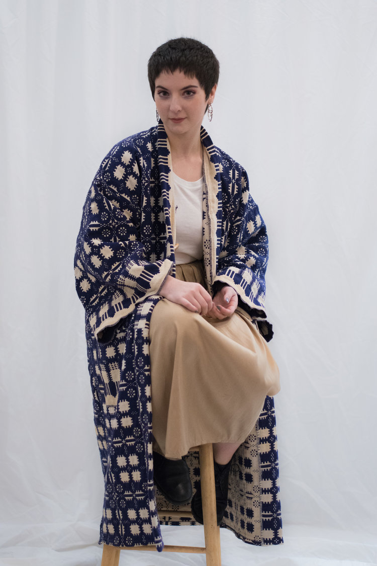 Of The Land Vintage Woven Blanket Kimono Duster,made from vintage blanket, handmade pattern, zero waste - $195  SOLD