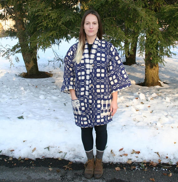 Of The Land Vintage Woven Blanket Kimono, made from vintage blanket, handmade pattern, zero waste - $125