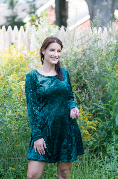 Neo Thread Co. Green Crush Velvet Dress Made in New Mexico $45