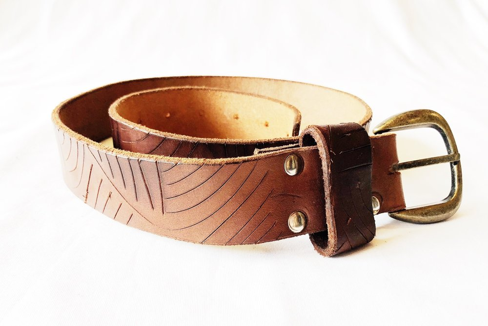 Davenport Leather Belt $17.50  Have you even taken upcycled leather, cut it into strips, add the hardware, design it and make the belt holes and loops? Brian McCarley has done it, and the outcome is beautiful! Belts are unisex and are perfect for men + women of all ages.