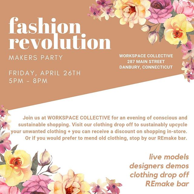Join us at @workspace_collective for an evening of conscious and sustainable shopping. Visit our clothing drop off to sustainably upcycle your unwanted clothing and you can receive a discount towards shopping in-store. However, if you prefer to have your clothing mended, stop by our REmake bar✨ . At the event:  Live Models Designer Demos Clothing Drop Off  REmake Bar . . . #fashionrevolution #fashionrevolutionweek #fashrev #ethicalstyle #ethicalconsumer #sustainablefashion #sustainablestyle #slowfashion #simplestyle #morewithless #ethicalootd #ethicallymade #consciousconsumer #consciousfashion #consciousculture #consciouscloset #springfashion #fashionrevolution
