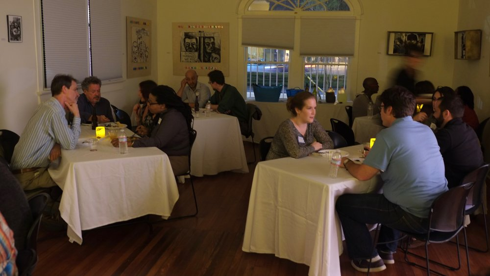New Orleans MUSIC EDUCATORS gather FOR A dinner with Eric Booth to Discuss the global el sistema movement; related findings from his and tricia tunstall's book,  PLAYING FOR THEIR LIVES  ;  and HOW TO CREATE A LOCAL network of strings teachers in new orleans.