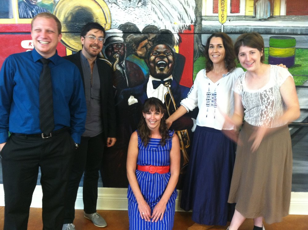 Fellows Eric GOLD, SHANE courville, rebecca Crenshaw and Audrey smith with music education mentor and coach kaya martinez (center right). (2012)