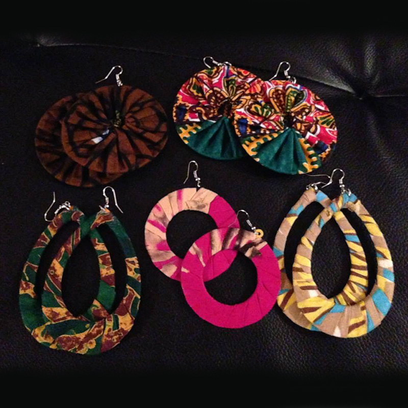 Fabric Earrings   $5.00 (Cash/Cheque) | $6.37 (Credit)  Assorted lightweight fabric earrings, each with their own unique design, colour, and pattern.