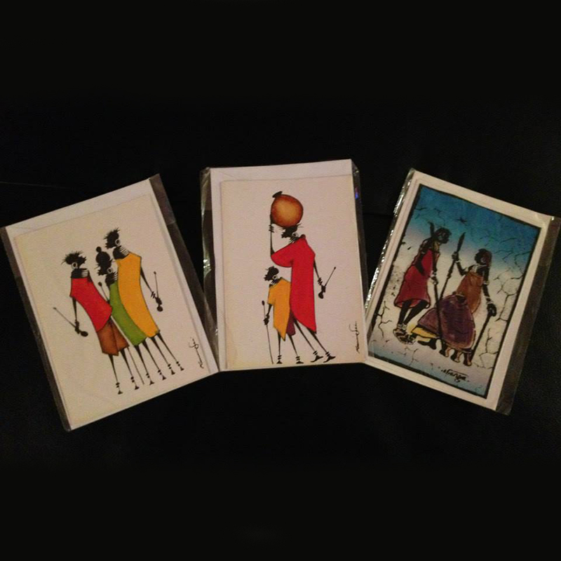 Greeting Cards with Traditional Kenyan Artwork   $2.50 (Cash/Cheque) | $3.18 (Credit)   Handmade cards with beautiful, traditional Kenyan style artwork.