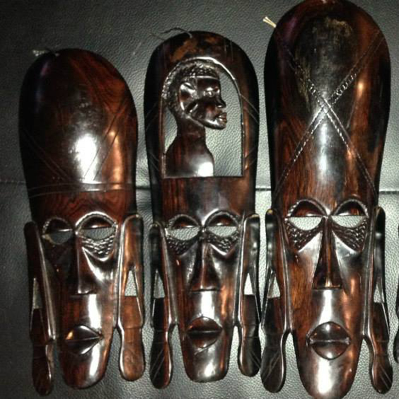 Traditional Kenyan Masks   Small: $10.00 (Cash/Cheque) | $12.75 (Credit) Medium: $20.00 (Cash/Cheque) | $25.50 (Credit) Large: $30.00 (Cash/Cheque) | $38.25 (Credit)   Assorted handcrafted traditional Kenyan masks. These masks are beautifully hand carved by Kenyan artisans.
