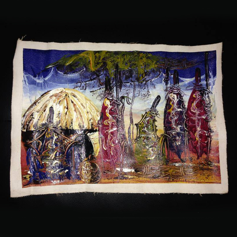 Oil Painting   $30.00 (Cash/Cheque) | $38.25 (Credit)  These paintings are beautifully hand painted on sturdy fabric by Kenyan artists. Beautiful imagery of traditional Kenyan culture, mixed with vibrant colours and artistic design.