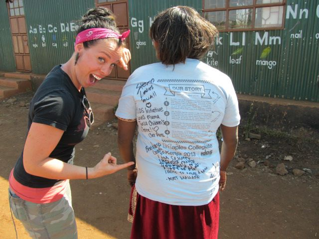 Mama Tunza sporting her own Maples Kenya Connection T-Shirt signed by all the students as a keepsake!