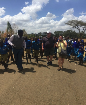 Greeted by Principal Sammy at GIWA Farm Settlement in Rongai District, 1.5 hour drive from Nakuru!