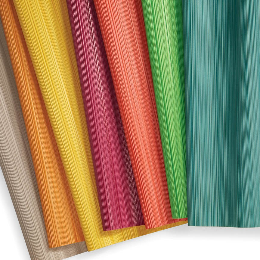 This image of the new crispclear colorways in Arc-Com's Estrada Additions  remind me of Summer days in the neighborhood and having to choose just one from the many flavors of Popsicles in the family size box!  Though unassuming from a patterning standpoint, installing any one of these could go a long way to brighten moods!