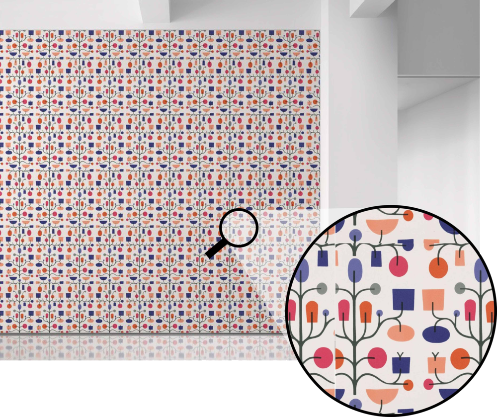 A pattern that translates beautifully to the wall, Maharam's Fruit Tree  by Alexander Girard is one of my all-time favorites.  This pattern brings to mind early morning outings with the family berry picking at Long's Orchard.  And let's not forget the Peach festival that happens a little later in the season!